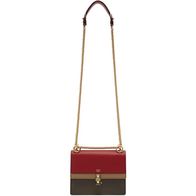 Fendi Red & Brown Small 'Kan I' Flap Bag