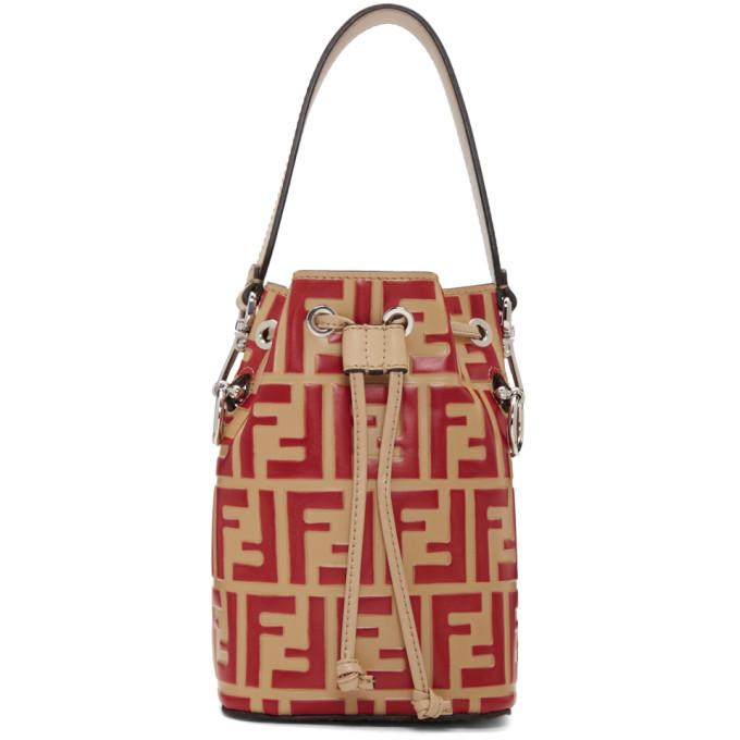 Fendi Red and Beige Forever Fendi Mini Mon Tresor Bag