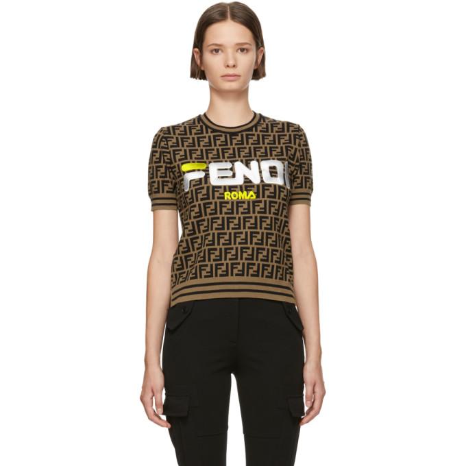 Fendi Sport Logo Short Sleeve Sweater In F159p Brown