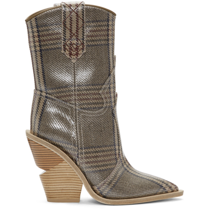 Check Pattern Ankle Boots in Brown