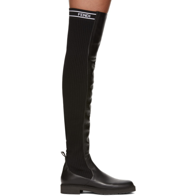 Fendi Black Knit Back Over-the-Knee Boots