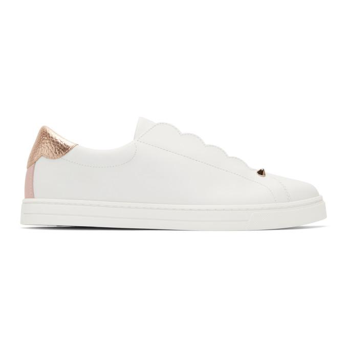 White Knit Logo Scallop Sneakers