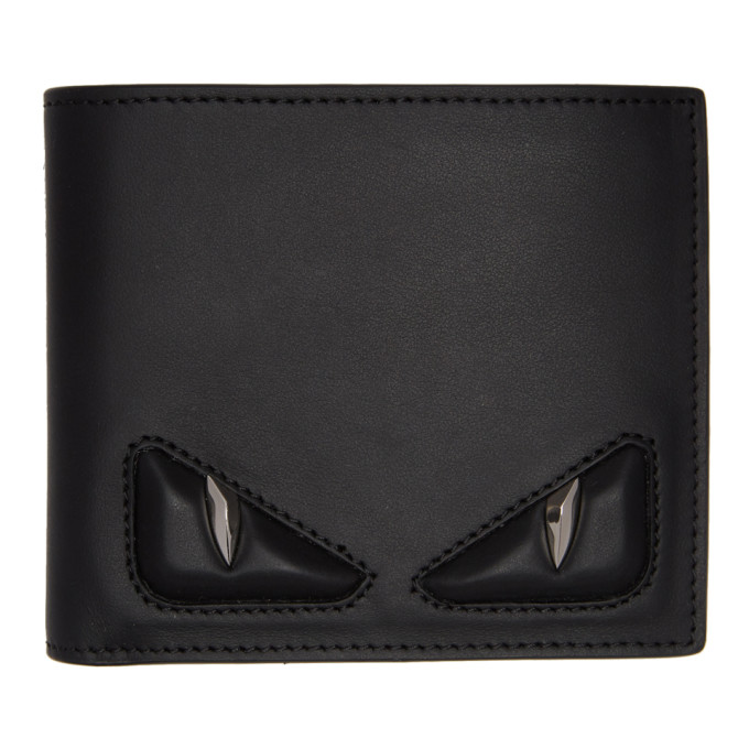 Fendi Black & Silver 'Bag Bugs' Bifold Wallets