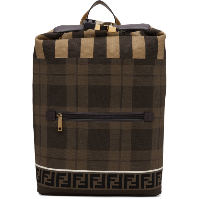 Fendi Brown Tech Knit Tartan 'Forever Fendi' Backpack