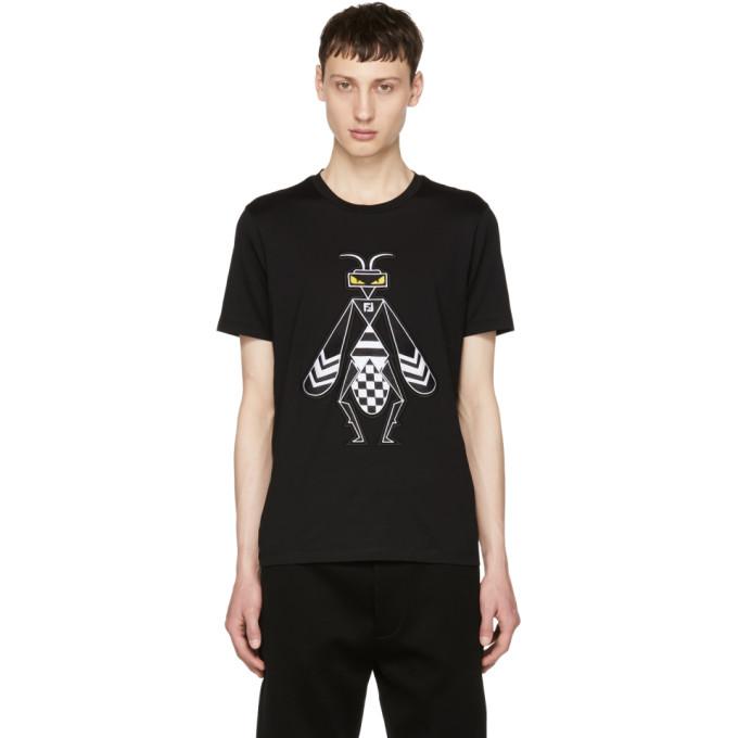 fbf95c7a Fendi Black Embroidered Super Bugs T Shirt