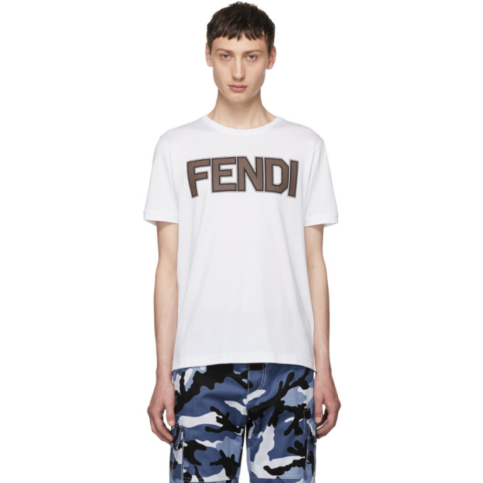 Fendi ホワイト ロゴ T シャツ