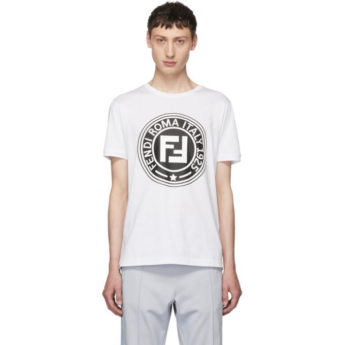 Fendi ホワイト Roma ロゴ T シャツ