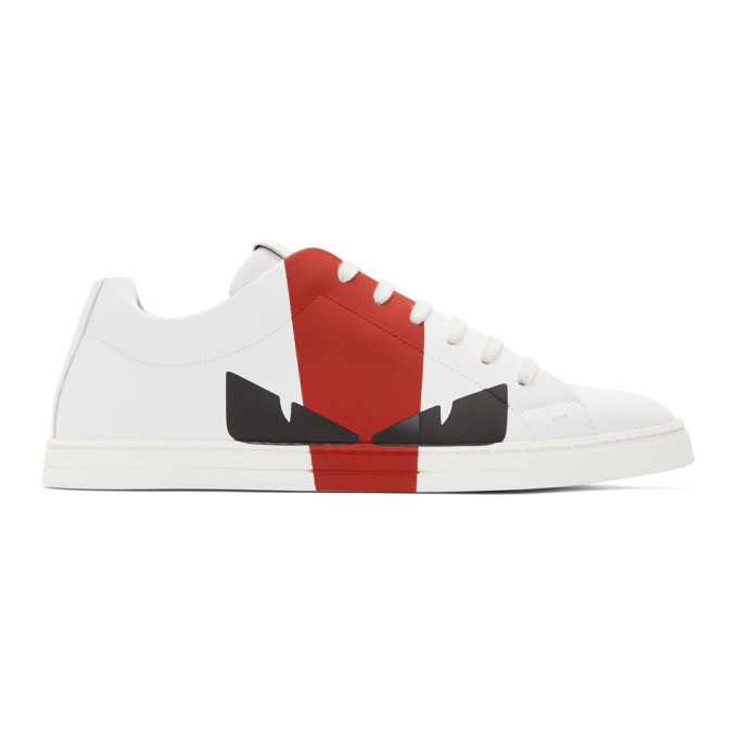 Fendi White & Red Leather 'Bag Bugs' Sneakers