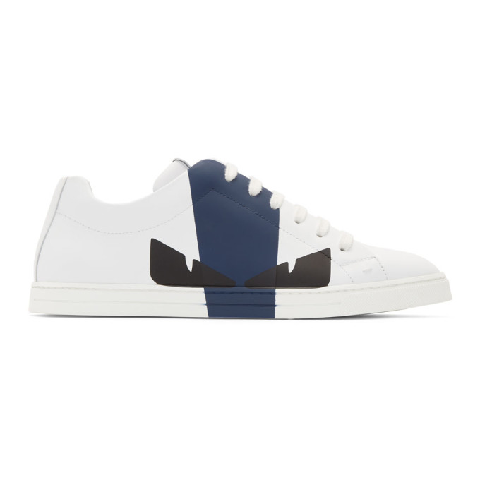 Fendi White & Navy Leather 'Bag Bugs' Sneakers