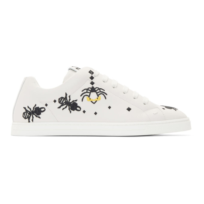Fendi White Leather 'Super Bugs' Sneakers