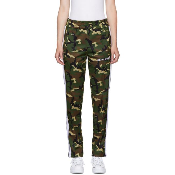 Palm Angels Pantalon de survêtement à motif camouflage vert Classic