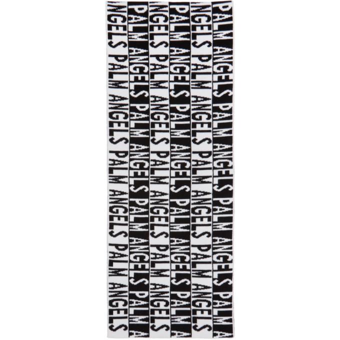 Palm Angels ブラック & ホワイト ロゴ マフラー