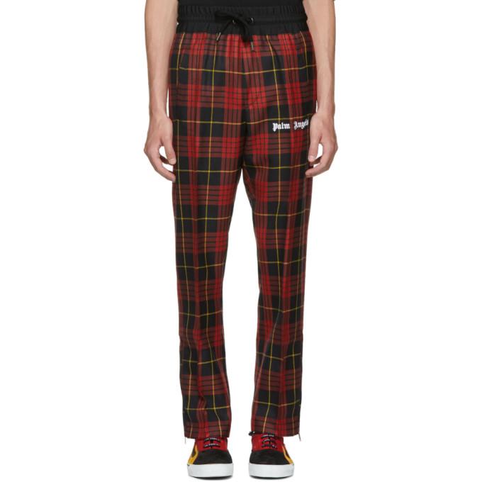 Palm Angels Pantalon de survêtement à carreaux rouge Sleek