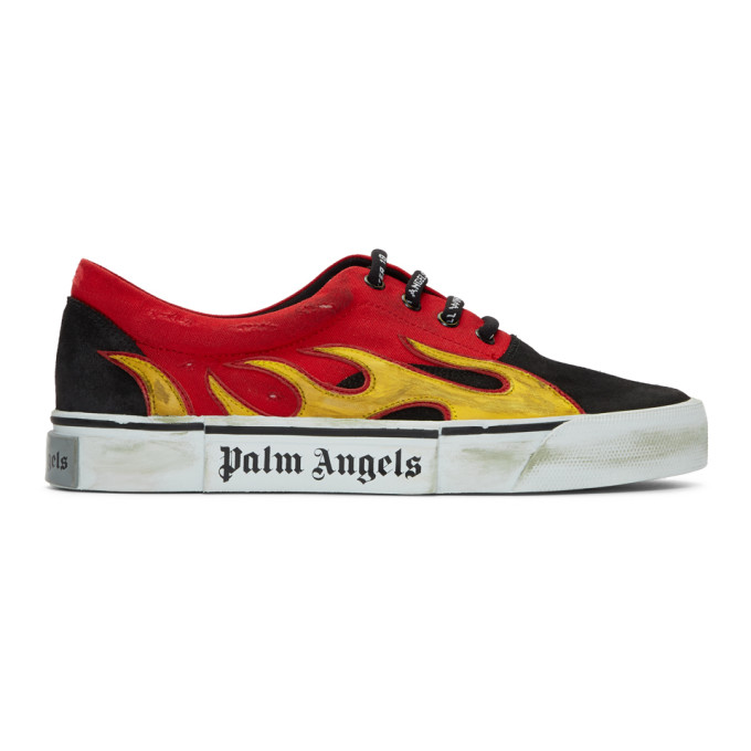 Palm Angels Black & Red Distressed Flame Sneakers