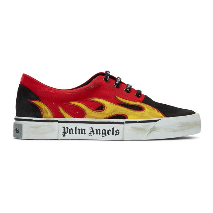 Palm Angels ブラック & レッド ディストレス フレーム スニーカー