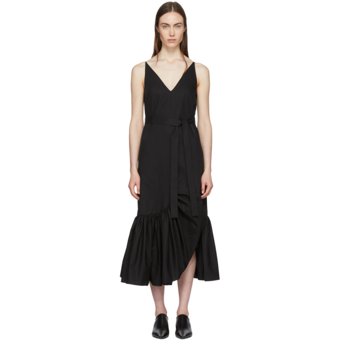 Image of Rosetta Getty Black Ruffle Camisole Dress