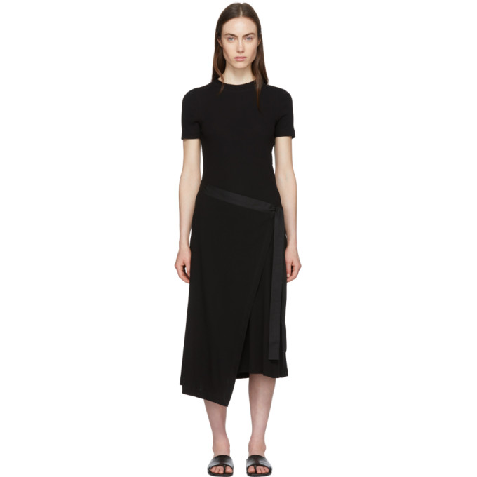 Image of Rosetta Getty Black Apron Wrap T-Shirt Dress