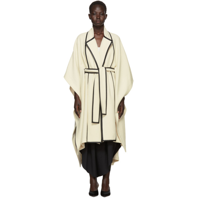 Image of Rosetta Getty Beige Scarf Panel Cape Coat