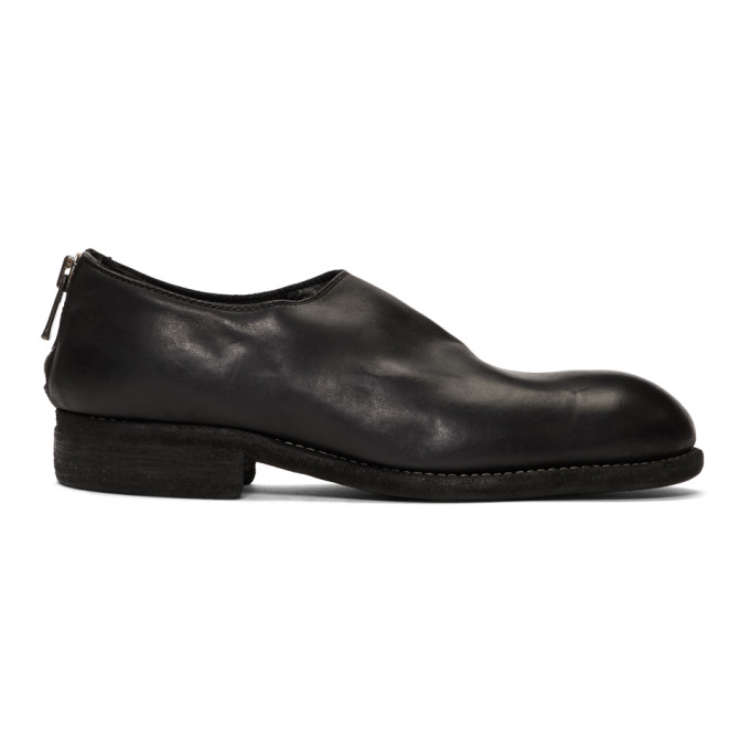 Guidi Black Horse Back Zip Loafers
