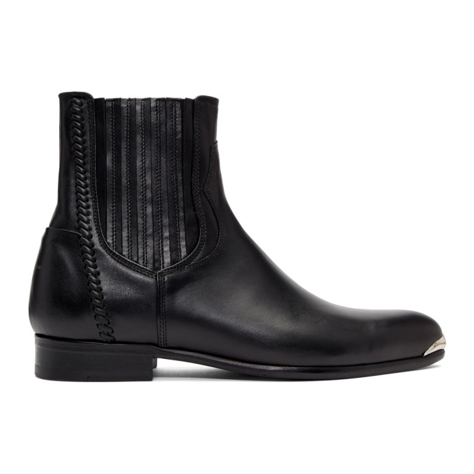 Image of Wooyoungmi Black Pointed Chelsea Boots