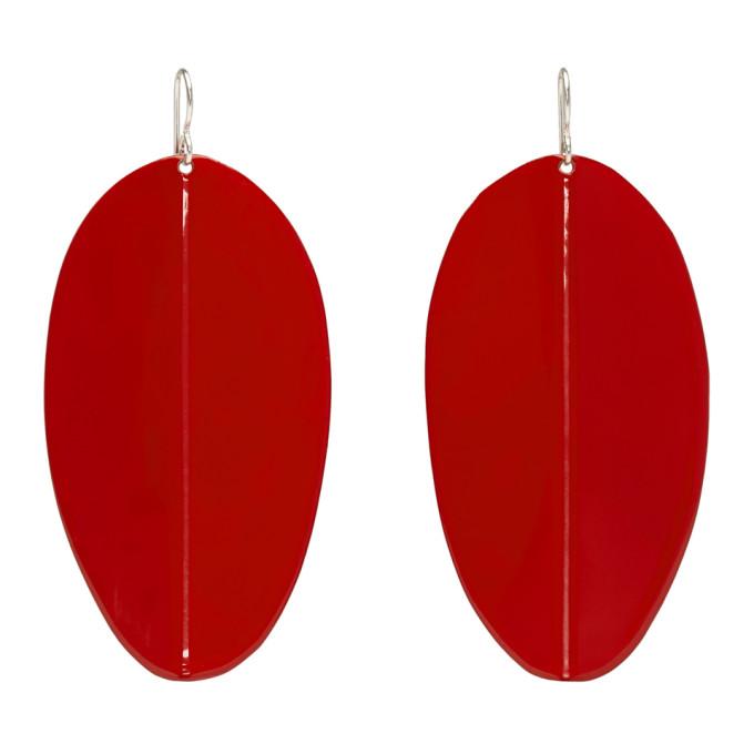 Simon Miller Red Medium Pointed Shield Earrings