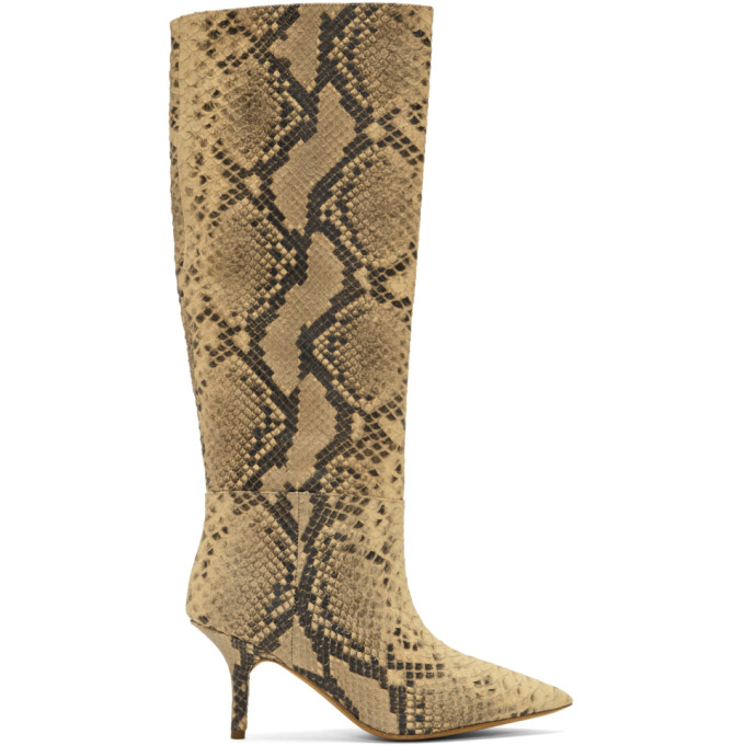 YEEZY Black & White Faux-Python Knee-High Boots