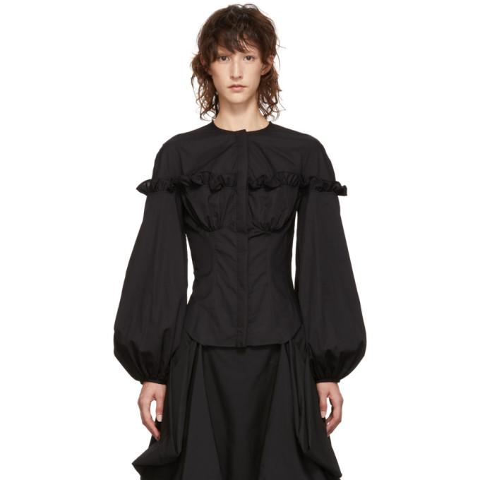 Marques'Almeida Ruffle Detail Shirt - Black