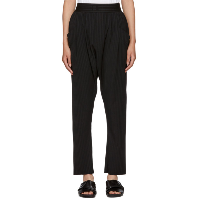 BAJA EAST BLACK RIB JERSEY HAREM LOUNGE PANTS