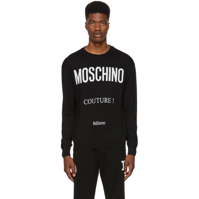 Image of Moschino Black 'Couture!' Crewneck Sweater