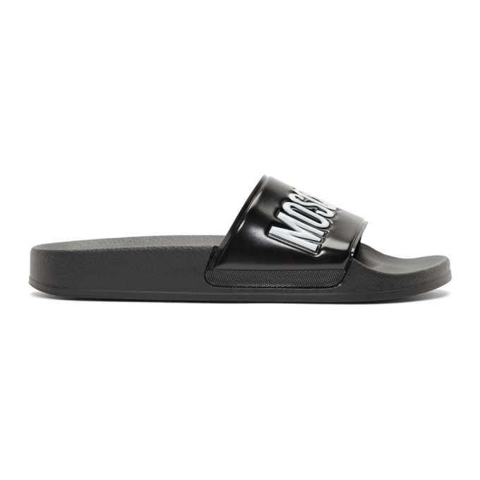 Image of Moschino Black Logo Pool Slides