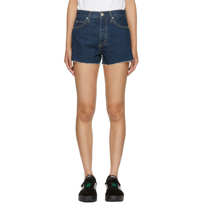 Amo Blue High-Rise Rosebowl Denim Shorts