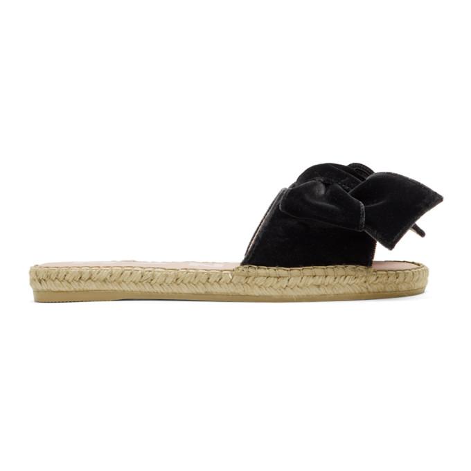 Maneb� Black Velvet Monaco Espadrille Sandals