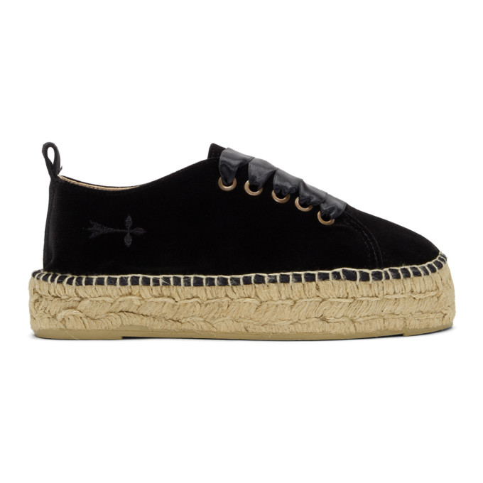 Manebi MANEBI BLACK VELVET MONACO LACE-UP ESPADRILLES