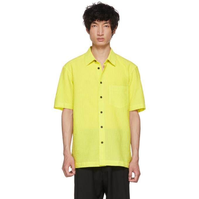 Issey Miyake Men Chemise rayee jaune et noire Shrink
