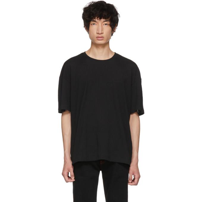 Image of Issey Miyake Men Black Crepe Tuck Jersey T-Shirt