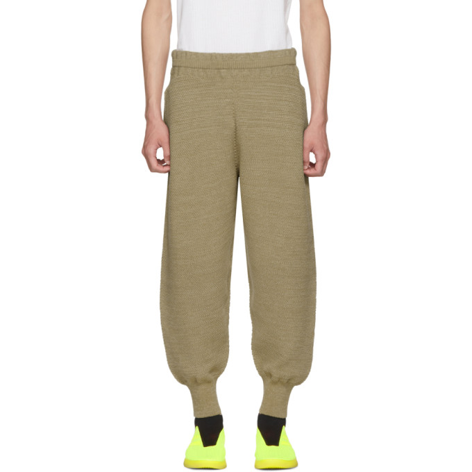 Image of Homme Plissé Issey Miyake Beige WG Knit Trousers