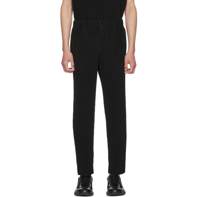 Image of Homme Plissé Issey Miyake Black Classic Straight Leg Pleated Trousers