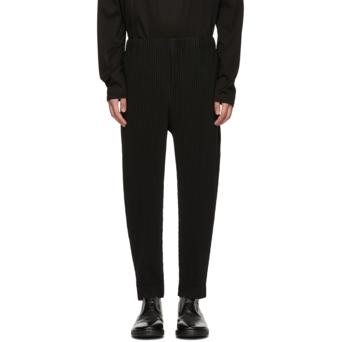 Image of Homme Plissé Issey Miyake Black MC July Cropped Trousers