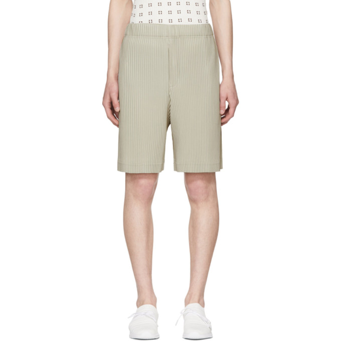 Image of Homme Plissé Issey Miyake Beige Pleated Shorts