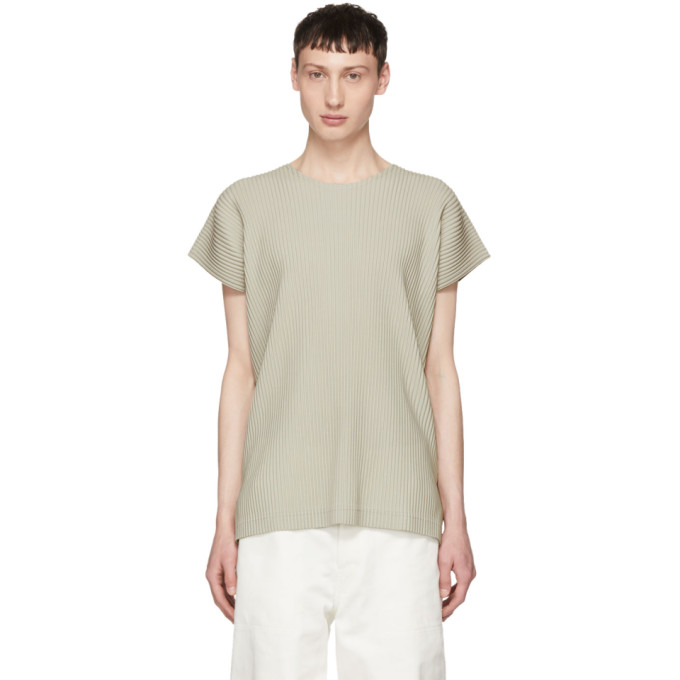 Image of Homme Plissé Issey Miyake Beige Pleated T-Shirt