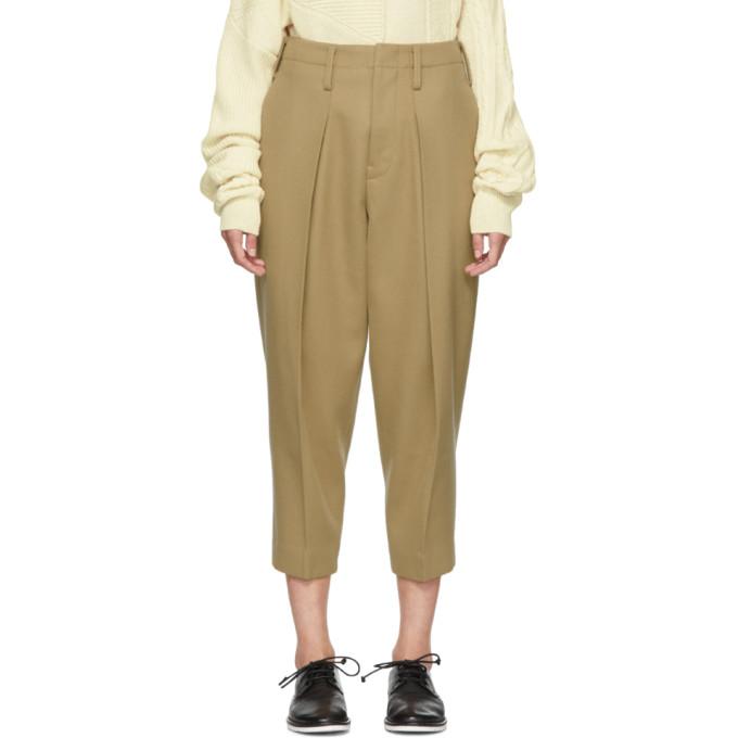 Image of Y's Beige Big Tuck Trousers