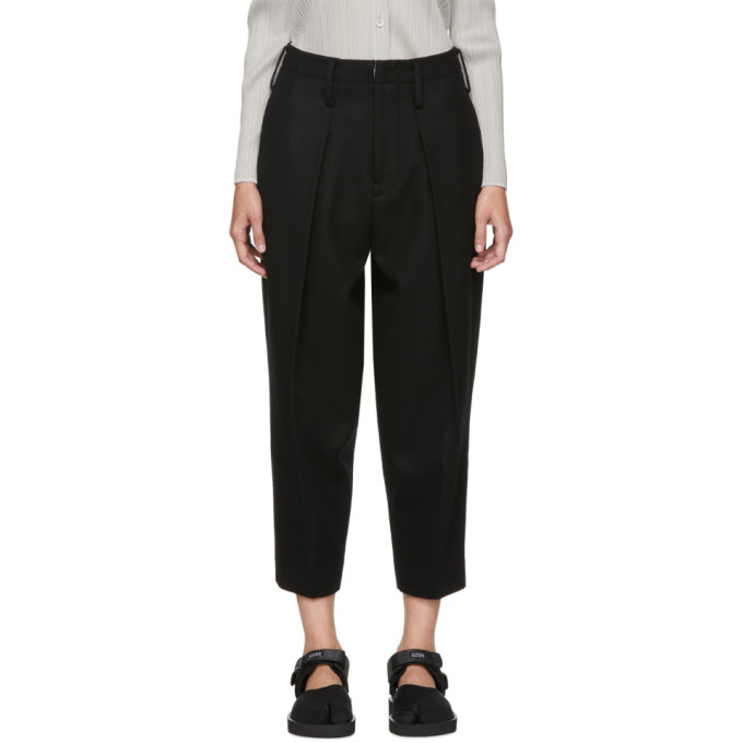 Image of Y's Black Big Tuck Trousers