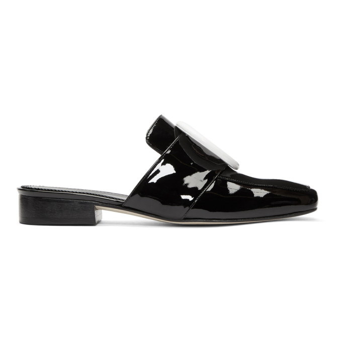 Dorateymur Black Patent Petrol Slippers