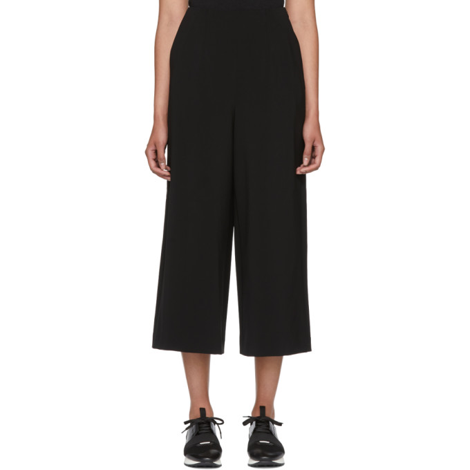 Enfold Black Double Cloth Wide-Leg Trousers