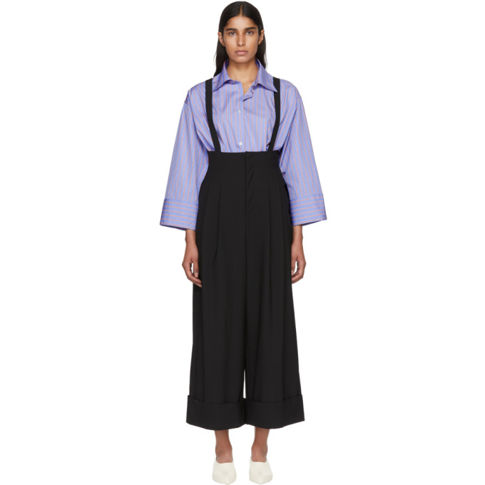 Enfold Black Wool Suspender Wide-Leg Trousers
