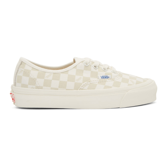 Vans Beige & Off-White Checkerboard OG Authentic Sneakers