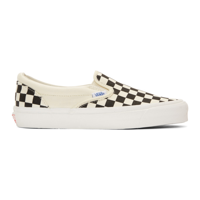 Vans Off-White & Black Check OG Classic Slip-On Sneakers