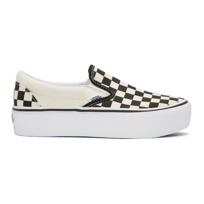 Vans Off-White & Black Checkerboard Classic Slip-On Platform Sneakers