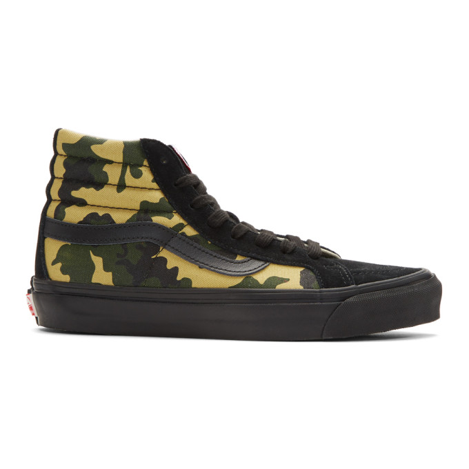 Vans Black & Green Camo OG SK8-Hi Lx High-Top Sneakers