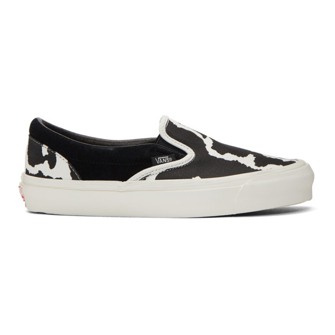 Vans Black & White Cow OG Classic Slip-On Sneakers